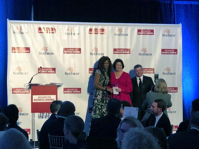 Cindy Fisher, President of KETTLER, recognized as President of the Year at the Washington Business Journal's C-Suite Awards 2019