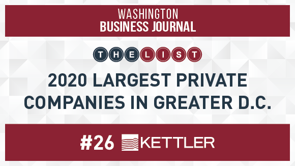 Washington Business Journal Names KETTLER #26 Largest Private Company in Greater D.C.