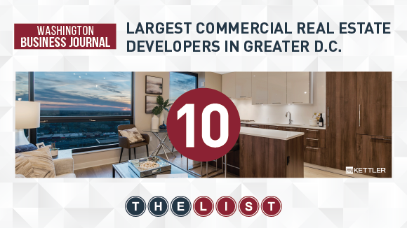 KETTLER Ranks on the Washington Business Journal Largest Commercial Real Estate Developers List for 5th Year in a Row